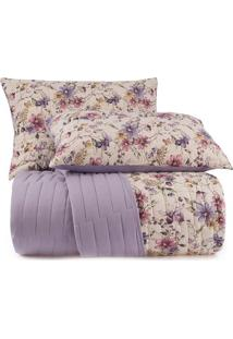 Conjunto De Colcha Floral Malha In Cotton Queen Size- Amaltenburg