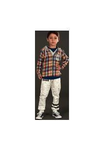 Calça Infantil Cata-Vento Com Estampa Mescla Natural Cata-Vento Casual Verde