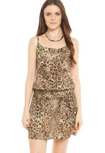Vestido Animal Print Estampa Onça Acinturado - Feminino