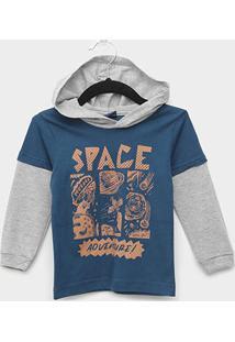 Camiseta Manga Longa Infantil Kiko & Kika Space Adventure Masculina - Masculino