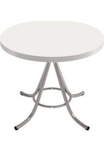 Mesa De Cozinha Redonda Core Branca E Cinza 90 Cm