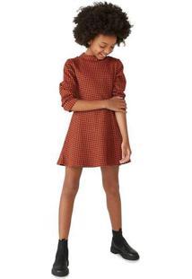 Vestido Infantil Menina Com Elastano Marrom