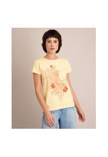 Camiseta De Algodão Cacatua Manga Curta Decote Redondo Amarelo Claro