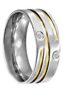 Aliança De Aço C/ Zircônia E Filete De Ouro (Unidade)-12 - Unissex-Prata