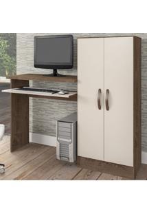 Mesa Para Computador Irlanda 2 Portas Mocaccino Rústico/Natura Off White - Atualle Móveis