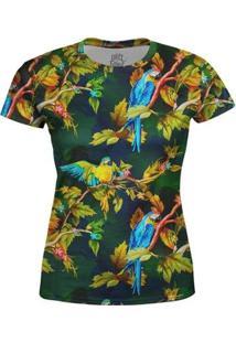 Camiseta Baby Look Feminina Araras Estampa Digital - M - Feminino