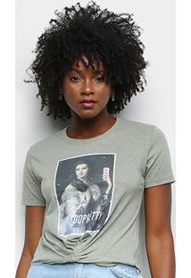 Camiseta Lecimar Estampada Too Pretty Feminina - Feminino-Verde Escuro