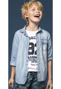 Camisa Jeans Infantil Menino Com Lavação Clara Hering Kids