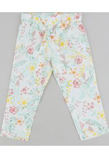 Calça Infantil Clochard Estampada Floral Off White