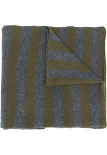 Aspesi Cachecol De Lã Com Listras - Cinza