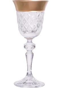 Taça De Cristal Lodz Para Licor De 60 Ml – Transparente E Dourada
