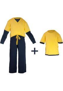 Pijama Infantil Gumii Klaus 3 Peças Masculino - Masculino-Amarelo+Marinho