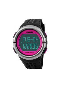 Relógio Skmei Digital -1058- Preto E Rosa