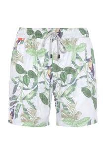 Bermuda Masculina Vintage Leaves - Branco