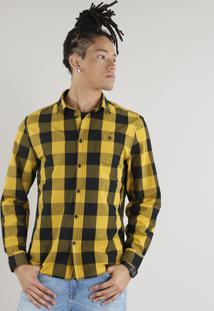 Camisa Masculina Xadrez Com Bolso Manga Longa Amarela
