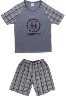Pijama Curto Infanto Juvenil Para Menino - Cinza