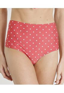 Biquíni Calcinha Hot Pant Estampada De Poá Com Proteção Uv50+ Vermelho