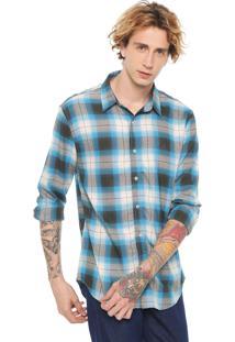 Camisa John John Reta Andy Azul/Cinza