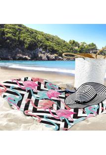 Toalha De Praia / Banho Flamingos E Traços