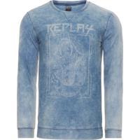 Blusa Masculina De Moletom Denim - Azul 00fd8ed3c647a
