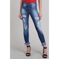 39cb54dd6a CEA. Calça Jeans Feminina Sawary Super Skinny Destroyed Azul Escuro
