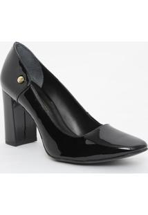 Sapato Em Couro Envernizado- Preto- Salto: 8Cmjorge Bischoff