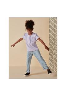 Amaro Feminino Camiseta Infantil Bolso Frente Babado, Lilás