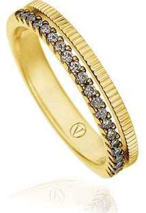 Anel Ouro Amarelo E Diamantes Brown