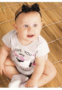 Body Infantil Feminino Baby Cinza