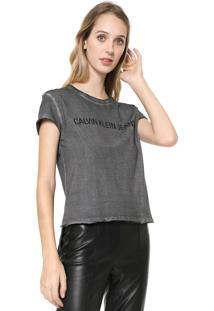 Camiseta Calvin Klein Jeans Lettering Grafite