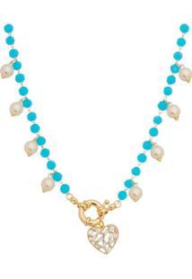 Colar Banhado A Ouro Com Pérolas- Dourado & Azul- 38Carolina Alcaide