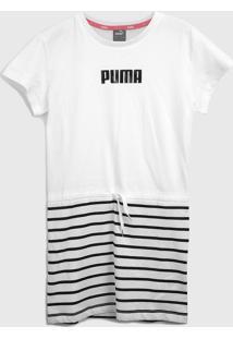 Vestido Puma Infantil Listras Branco