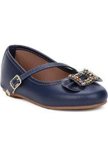 Sapato Para Bebe Menina - Azul Marinho