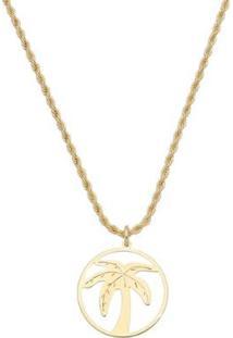 Colar Piuka Malibu Coqueiro Folheado A Ouro 18K - Feminino-Dourado