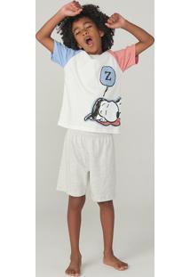 Pijama Manga Curta Infantil Menino Snoopy
