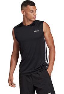 Regata Adidas D2M 3 Stripe Masculina - Masculino-Preto
