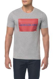 Camiseta Ckj Mc Est Logo Retangulo - Mescla - Pp
