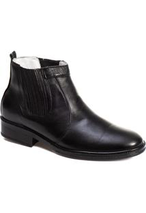 Botina Tchwm Shoes Couro Palmilha Gel Macia Confortavel Preto