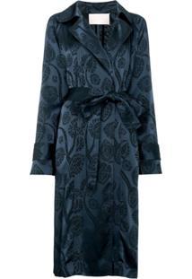 Peter Pilotto Trench Coat Jacquard - Azul