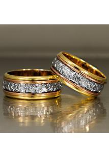 Aliança De Bodas De Ouro Com Filete Diamantado - As0102