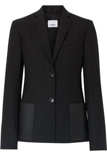 Burberry Leather Detail Tailored Jacket - Preto