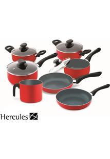 Conjunto De Panelas Hercules Antiaderente Vermelho 7 Peças