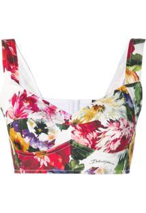 Dolce & Gabbana Printed Bustier Top - Branco