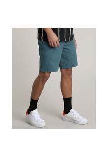 Bermuda De Sarja Masculina Slim Com Recortes E Cordão Verde