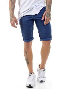 Bermuda Sarja Premium Slim Fit Masculina - Masculino-Azul