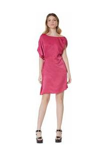 Vestido Curto Decote Redondo Com Metal Rosa M