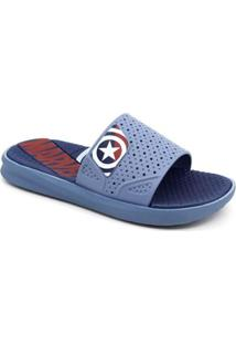 Chinelo Infantil Slide Vingadores Grendene 21906 Masculino - Masculino-Azul