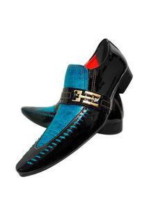 Sapato Masculino Italiano Social Executivo Em Couro Art Sapatos Azul Céu