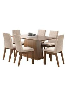 Sala De Jantar Madesa Milena Mesa Tampo De Vidro Com 6 Cadeiras Marrom
