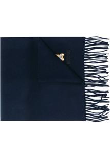 Moschino Cachecol Com Franjas E Logo Bordado - Azul